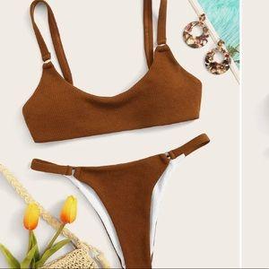 Tan ribbed Shein bikini NWOT💕